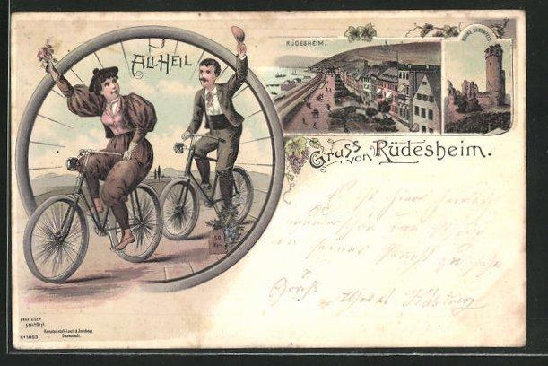 AK Rüdesheim, Mann und Frau auf Fahrrad, Hafenpartie, Ruine Ehrenfels 0