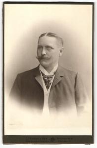 Fotografie C. F. Beddies & Sohn, Braunschweig, Portrait bürgerlicher Herr im Anzug mit Krawatte und Schnauzbart