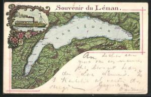 Lithographie Genf, Souvenir du Leman, Lac Leman - Genfersee mit Umgebungskarte, Dampfer