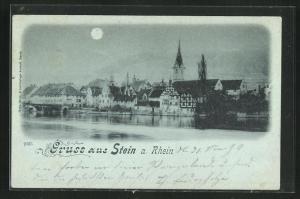 Mondschein-AK Stein a. Rhein, Ortsansicht mit Kirche