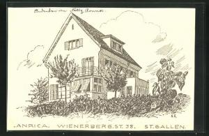Künstler-AK St. Gallen, Anrica, Wienerberg St. 38