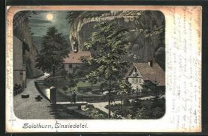 Lithographie Solothurn, Einsiedelei bei Mondschein