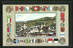 Passepartout-AK St. Gallen, Telldenkmal, Ortsansicht, Nationaldenkmal Genf, St. Jakobsdenkmal und Wappen