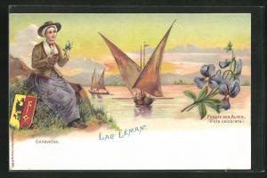 Lithographie Lac Léman, Genevoise, Pensée des Alpen, Alpenveilchen und Genferin, Wappen