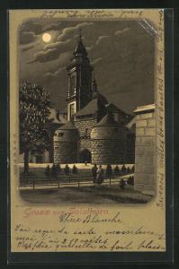 Mondschein-Lithographie Solothurn, Baslerthor und St. Ursusthurm