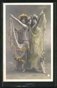 Foto-AK Walery, Paris: Laridan und Selva in bunten Kleidern mit Blumen, Folies-Marigny