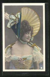 Foto-AK Walery, Paris: Mauricette im bunten Kleid mit Hut