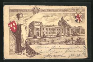 AK Düsseldorf, Industrie-, Gewerbe-, Deutsch-Nationale Kunstausstellung 1902, Kunstpalast, Wappen