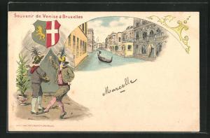 AK Bruxelles, Souvenir de Venise a Bruxelles, Ortspartie, Musikanten, Wappen