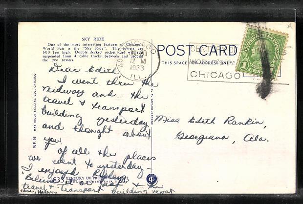 AK Chicago, World`s Fair 1933, Sky Ride 1