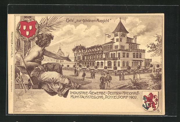 AK Düsseldorf, Industrie-Gewerbe-Deutsch-Nationale Kunstausstellung, Cafe zur schönen Aussicht, Wappen 0