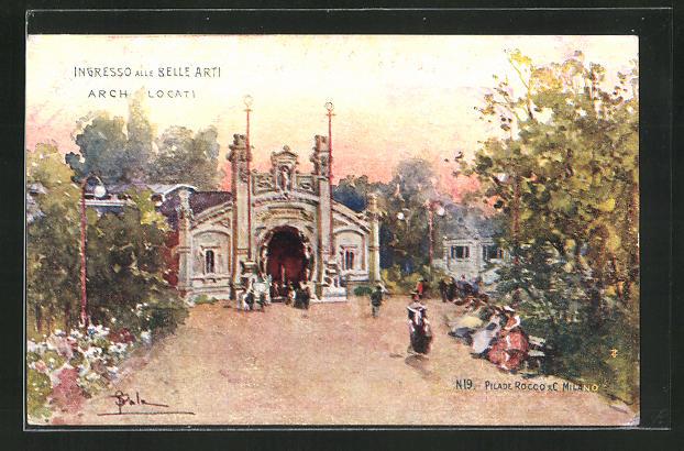 Künstler-AK Milano, Esposizione 1906, Ingresso alle Belle Arti 0