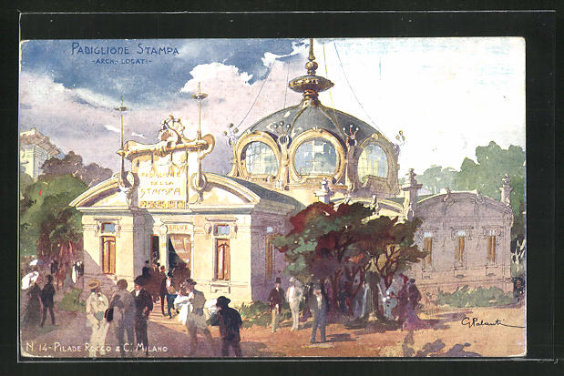 Künstler-AK Milano, Esposizione 1906, Padiglione Stampa 0