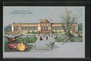 AK St. Louis, World`s Fair 1904, Government Building, Ausstellung