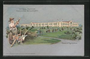 AK St. Louis, World`s Fair 1904, Palace of Agriculture, Ausstellung