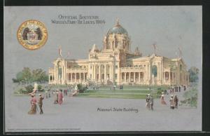 AK St. Louis, World`s Fair 1904, Missouri State Building, Ausstellung