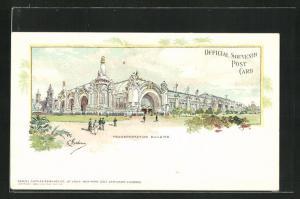 AK St. Louis, World`s Fair 1904, Transportation Building, Ausstellung