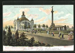 AK Düsseldorf, Kunst- u. Gartenbau-Ausstellung 1904, Pavillon für Sonderausstellungen und Centaurengruppe