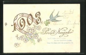 Präge-Lithographie Prosit Neujahr, Jahreszahl 1903, Vergissmeinnicht und Schwalbe