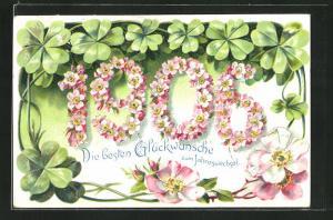 Präge-Lithographie Die besten Glückwünsche zum Jahreswechsel, Jahreszahl 1905 aus Blüten, Klee