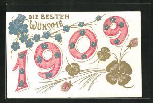 Präge-Lithographie Die besten Wünsche, Jahreszahl 1909