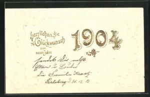Relief-Lithographie Glückwunsch zum neuen Jahre, Jahreszahl 1904