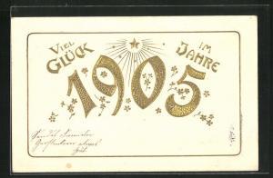 Präge-Lithographie Viel Glück im Jahre 1905, Jahreszahl