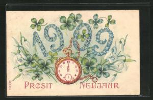 Präge-Lithographie Prosit Neujahr, Jahreszahl 1909 aus Blüten und Taschenuhr