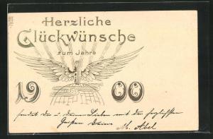 Präge-Lithographie Herzliche Glückwünsche zum Jahre 1900, Jahreszahl, Geflügelter Reifen auf Globus
