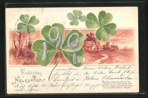 Lithographie Fröhliches Neujahr, Jahreszahl 1901 auf Klee