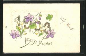 Präge-Lithographie Fröhliches Neujahr!, Jahreszahl und Blüten