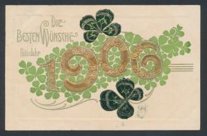 AK Die besten Wünsche für`s Jahr 1906, Jahreszahl und Klee
