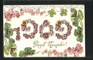 Präge-Lithographie Prosit Neujahr, Jahreszahl 1909 aus Blüten, Klee