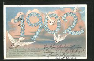 Lithographie Wo Täubchen baun ihr heimisch Nest..., Jahreszahl 1902 aus Blüten