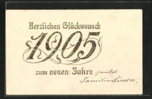 Präge-AK Herzlichen Glückwunsch zum neuen Jahre, Güldene Jahreszahl 1905