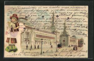 Lithographie Paris, Exposition Universelle 1900, Ausstellungsgebäude, Halt gegen das Licht