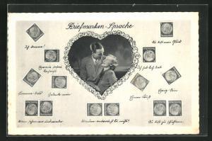 AK Briefmarkensprache, Diverse Motive und Liebespaar