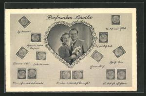 AK Briefmarken-Sprache, Liebespaar