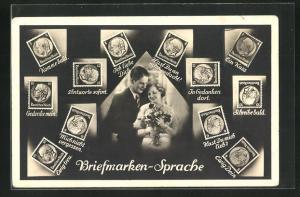 AK Briefmarkensprache, Montage