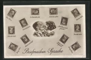 AK Briefmarkensprache, Kuss, Liebespaar