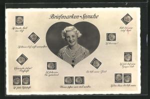 AK Briefmarken-Sprache, Blonde Maid