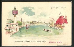 AK Paris, Exposition universelle de 1900, Lefevre-Utile, Fluss und Brücke, Halt gegen das Licht