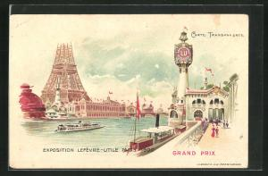 AK Paris, Exposition universelle de 1900, Lefevre-Utile, Promenade und Eiffelturm, Halt gegen das Licht