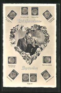 AK Briefmarken-Sprache, Junge Paar in Herz