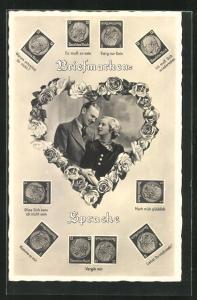 AK Briefmarken-Sprache, Junge Paar in Rosenherz