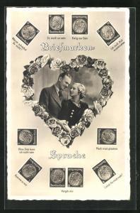 AK Briefmarken-Sprache, Liebespaar in Herz