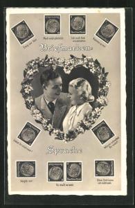 AK Briefmarken-Sprache, Junge Paar