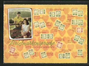 AK Briefmarkensprache für junge Herzen, Komm bitte schnell!, Ich träume von Dir, Ich bin so einsam, Paar mit Gitarre