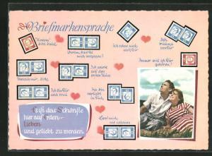 AK Briefmarkensprache, Komm` bitte bald, Ich traume von Dir, Verzeih mir bitte, Pärchen auf einer Wiese