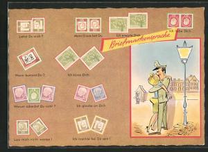 AK Briefmarkensprache, Ich küsse Dich, Ich glaube an Dich, Ich erwarte Dich, Polizist und Frau küssen sich